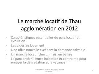 Le marché locatif de Thau agglomération en 2012