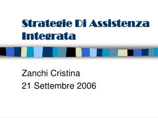 Strategie Di Assistenza Integrata