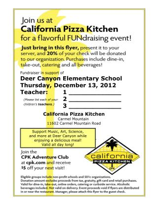 Fundraiser in support of Deer Canyon Elementary School Thursday, December 13, 2012