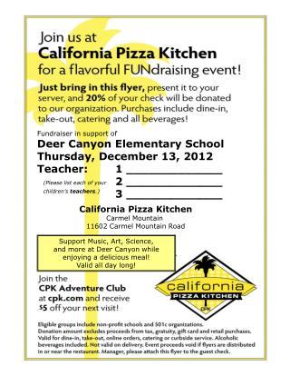 Fundraiser in support of Deer Canyon Elementary School Thursday, December 13, 2012
