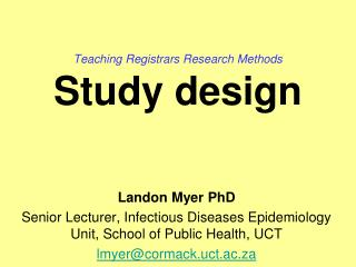 Teaching Registrars Research Methods Study design