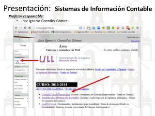Presentación:   Sistemas de Información Contable