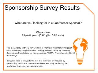 29 questions 65 participants (59 English / 6 French)