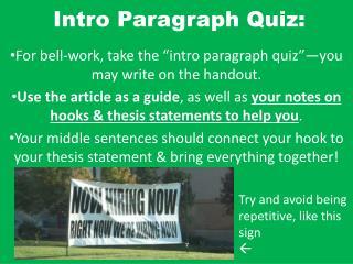 Intro Paragraph Quiz: