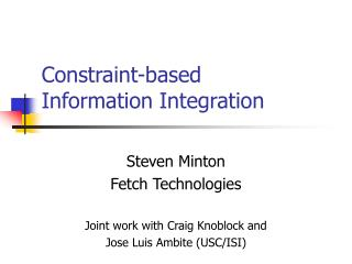 Constraint-based  Information Integration