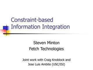 Constraint-based  Information Integration