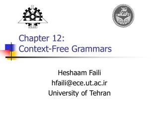 Chapter 12:  Context-Free Grammars