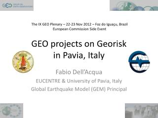 GEO projects on  Georisk in Pavia, Italy