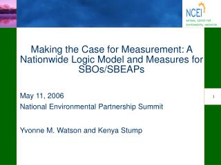 Making the Case for Measurement: A Nationwide Logic Model and Measures for SBOs/SBEAPs