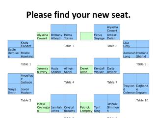 Please find your new seat.