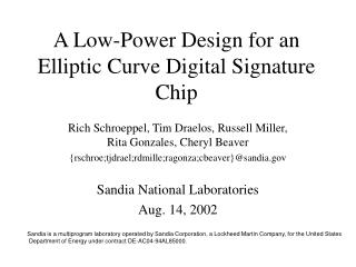 A Low-Power Design for an Elliptic Curve Digital Signature Chip