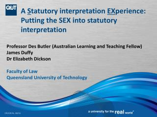 A  S tatutory interpretation  EX perience: Putting the SEX into statutory interpretation