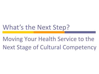 Moving Your Health Service to the Next Stage of Cultural Competency
