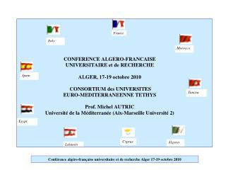 Conférence  algéro -française universitaire et de recherche Alger 17-19 octobre 2010