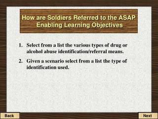 How are Soldiers Referred to the ASAP Enabling Learning Objectives