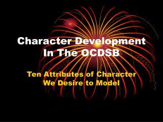 Character Development In The OCDSB