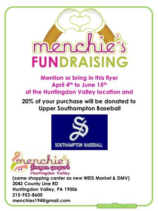 Mention or bring in this flyer April 4 th  to June 15 th a t the Huntingdon Valley location and
