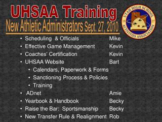 UHSAA Training