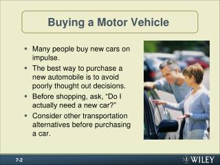 Buying a Motor Vehicle