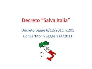 Decreto �Salva Italia�