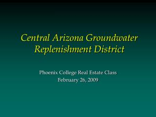 Central Arizona Groundwater Replenishment District