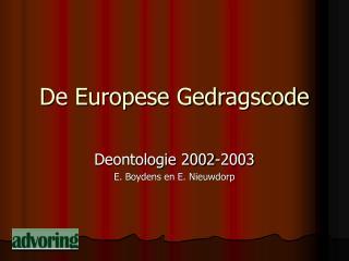 De Europese Gedragscode