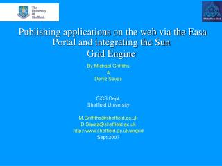 Publishing applications on the web via the Easa Portal and integrating the Sun  Grid Engine