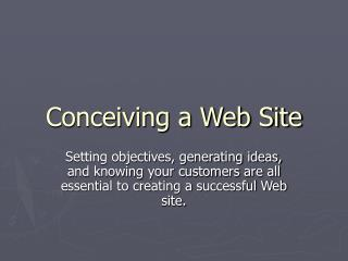Conceiving a Web Site