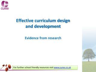 Effective curriculum design and development