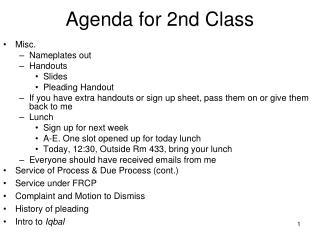 Agenda for 2nd Class