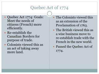 an interpretation of a quebec act of 1774 Quizlet provides the quebec act of 1774 activities, flashcards and games start learning today for free.