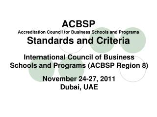 ACBSP Accreditation Council for Business Schools and Programs Standards and Criteria