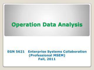 Operation Data Analysis
