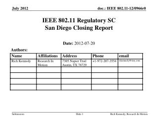 IEEE 802.11 Regulatory SC San Diego Closing Report