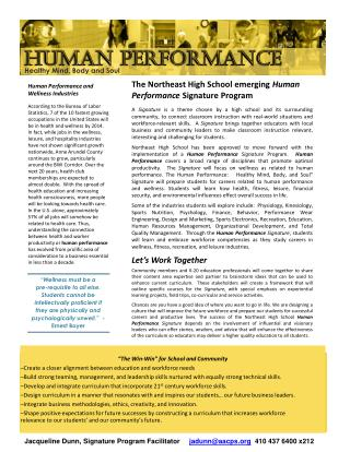 The Northeast High School emerging  Human Performance  Signature Program