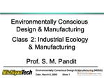 Environmentally Conscious Design  Manufacturing