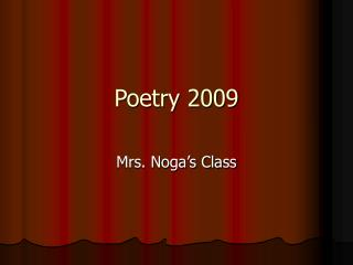 Poetry 2009