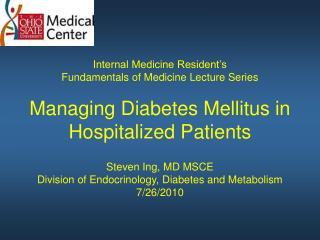 Some Factors Destabilizing Glucose Control during Hospitalization