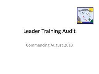 Leader Training Audit