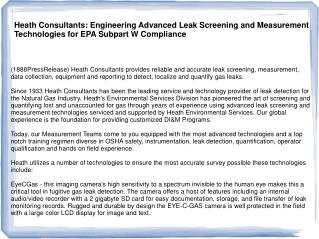 Heath Consultants: Engineering Advanced Leak Screening and M
