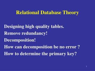 Relational Database Theory