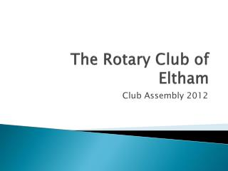 The Rotary Club of Eltham