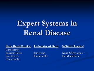 Expert Systems in Renal Disease
