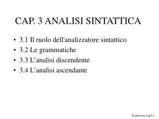 CAP. 3 ANALISI SINTATTICA