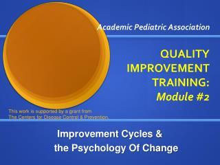 Academic Pediatric Association QUALITY IMPROVEMENT TRAINING:  Module #2