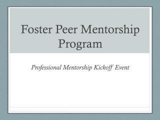Foster Peer Mentorship Program