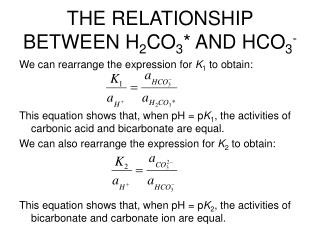 THE RELATIONSHIP BETWEEN H 2 CO 3 * AND HCO 3 -