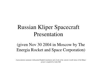 Russian Kliper Spacecraft Presentation