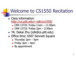 Welcome to CS1550 Recitation