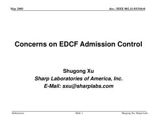 Concerns on EDCF Admission Control